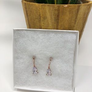 NEW Wedding Teardrop Rose Gold CZ Earrings